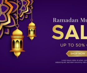 Purple Ramadan Kareem sale vector