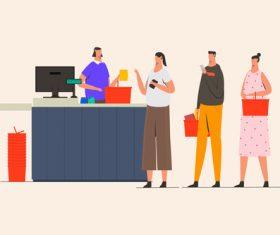 Queue line at cashier illustration vector