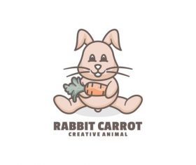 Rabbit carrot icon design vector
