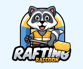 Rafting raccoon icon design vector