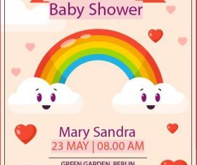 Rainbow clouds baby shower card vector
