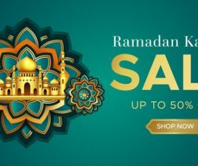 Ramadan Kareem mosque background sale vector