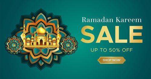 Ramadan Kareem mosque background sale vector
