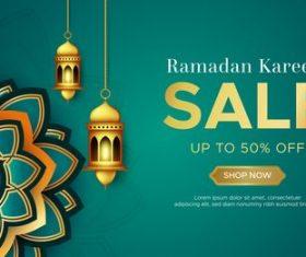 Ramadan Kareem sale banner web design vector