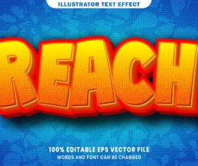 Reach 3d editable text style effect vector