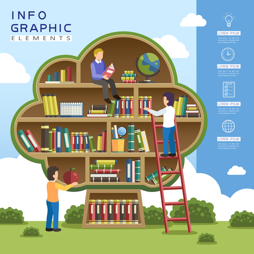 Reading infographic concept vector