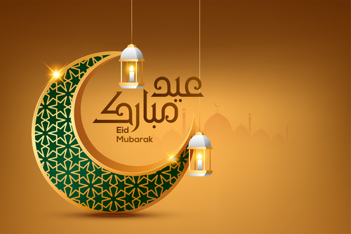 Realistic Eid Mubarak Card Vector