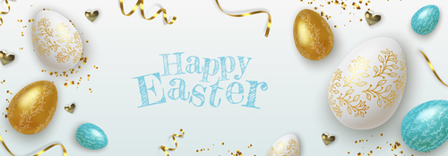 Realistic easter egg banner greeting card vector
