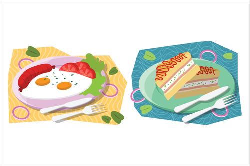 Reasonable meal breakfast food illustration vector