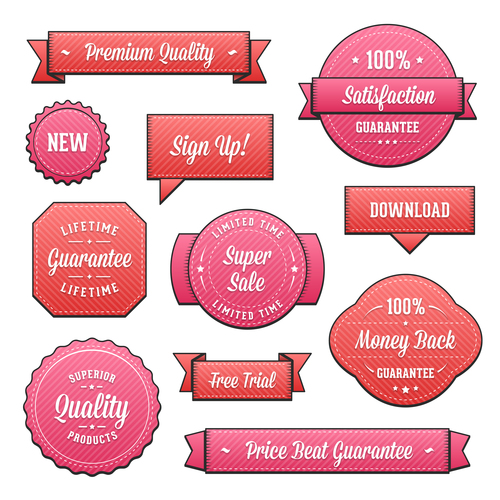 Red business label vector