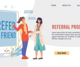 Referral program cartoon illustration vector