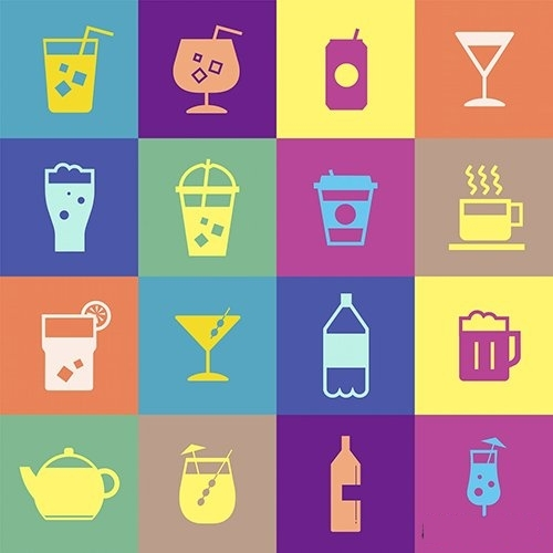 Refreshing drinks icons collection illustration vector