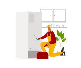 Refrigerator machine technician vector