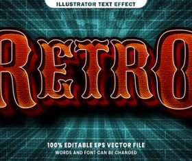 Retro 3d editable text style effect vector