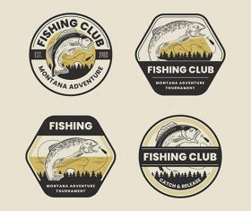 Retro fishing badge pack vector