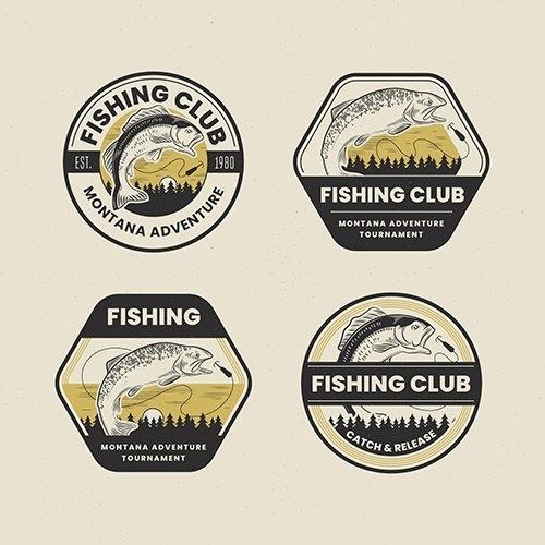 Retro fishing badge pack vector