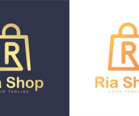 Ria shop business logo design vector