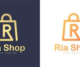 Ria shop business logo design vector