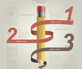 Ribbon and pencil infographic concept vector