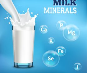 Rich minerals milk advertising vector