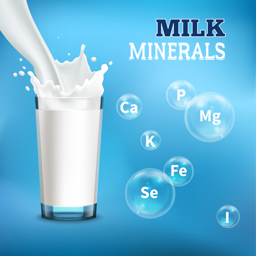 Rich minerals milk advertising vector