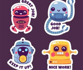 Robot stickers cartoon collection vector