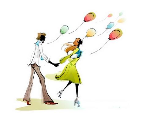 Romantic couple illustration vector
