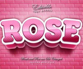 Rose 3d effect text design vector