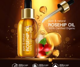 Rosehip Oil cosmetics for skin care Realistic Illustration vector
