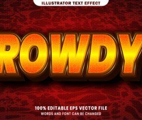 Rowdy 3d editable text style effect vector