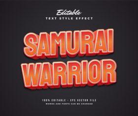 Samurai warrior text effect editable vector