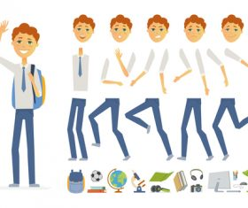 Schoolboy in uniform character constructor vector