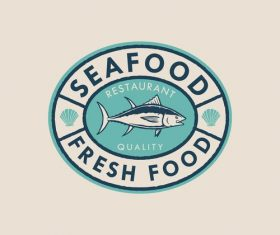 Seafood badge logo design vector