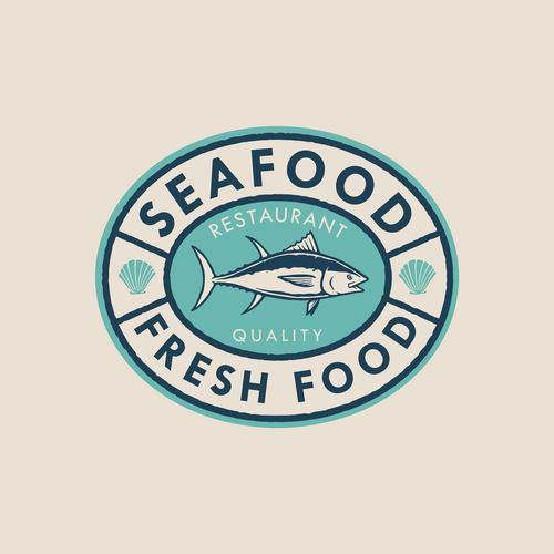 Seafood badge logo design vector