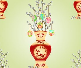 Seamless texture vase with pussy willow and easter eggs vector