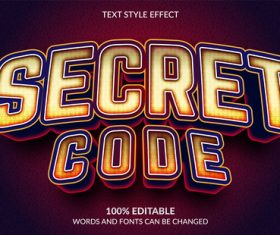 Secret code editable text effect vector