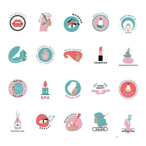 Set of beauty and cosmetics icons vector