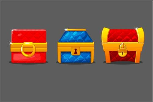Set of chests different colored with locks vector