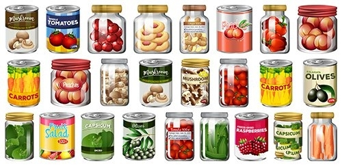 Set of different canned food jars vector