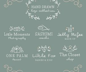 Set of hand-drawn logos different kind shops