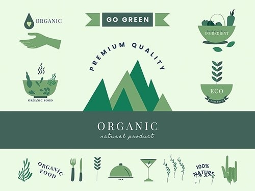 Set of organic and go green icons vector