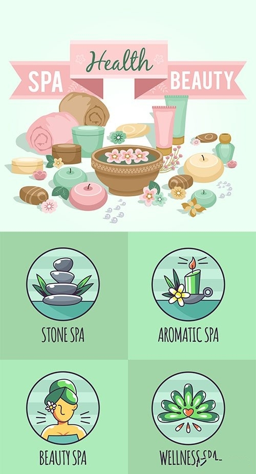 Set of spa center logos and elements