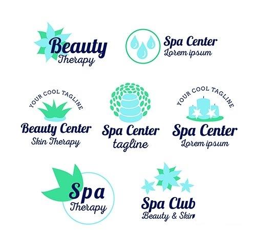 Set of spa center logos flat style vector