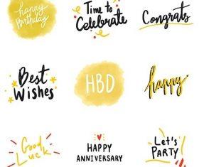 Set of yellow celebratory typography vector