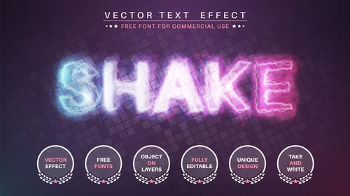 Shake 3d editable text style effect vector