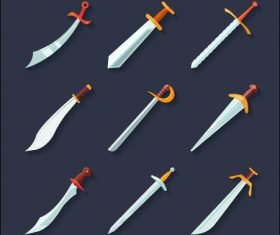 Sharp blades flat icon set vector