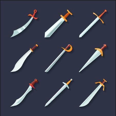 Sharp blades flat icon set vector