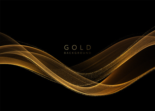 Shiny golden wavy abstract background vector