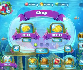 Shop game interface design vector
