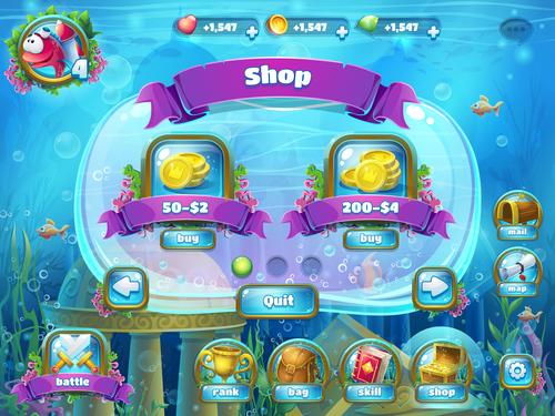 Shop game interface design vector